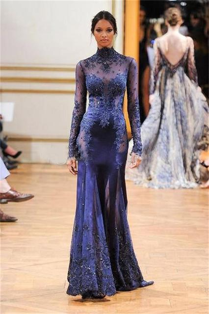 High Neck Lace Formal Evening Dresses 2016 Celebrity Gowns In sales Sheer Back Sexy Floor-Length A-LineFull Sleeves Dress PS54