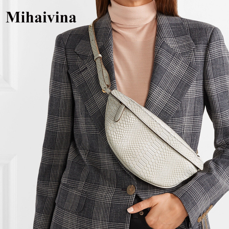 Mihaivina Serpentine Chest Bag Lady Fanny Packs Fashion Designer Chest Handbag Women's Bag Luxury Waist Pack Belly Bags Purse