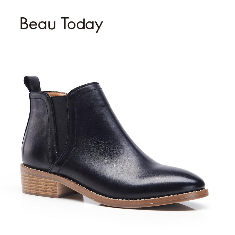 BeauToday Women Chelsea Boots Genuine Cow Leather Fashion Lady Ankle Boot Brand Elastic Shoes Handmade Good Quality 03022 elastic band women genuine leather ankle boots chelsea hand made shoes motorcycle coincise fashion black matte women s boots