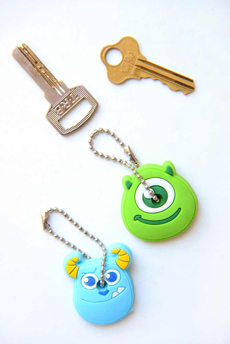 1 stück Silikon Schlüssel Abdeckung Für Frauen Schlüssel Kappe Stich Keychain Cartoon Panda Schlüssel Ketten Nette schlüsselring Halter Geschenke