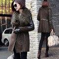 Women genuine wool fur coat brown colour real Sheep leather spliced long winter jacket Raccoon Dog Fur collar feminino coats