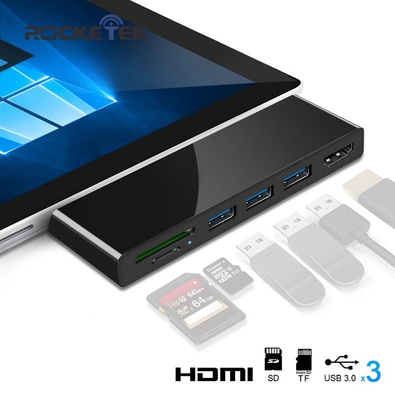 Rocketek HUB 4K HDMI And Usb 3.0 Card Reader/1000Mbps Gigabit Ethernet Adapter For SD/TF Micro SD Microsoft Surface Pro 3/4/5/6