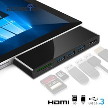 Rocketek HUB 4K HDMI y usb 3,0 lector de tarjetas/1000 Mbps Ethernet Gigabit adaptador para SD/TF micro SD Microsoft Surface Pro 3/4/5/6(China)
