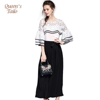 Queen S Tailo New Summer White Shirt Black Pants Suits For Woman Ruffles Lace Blouse Loose