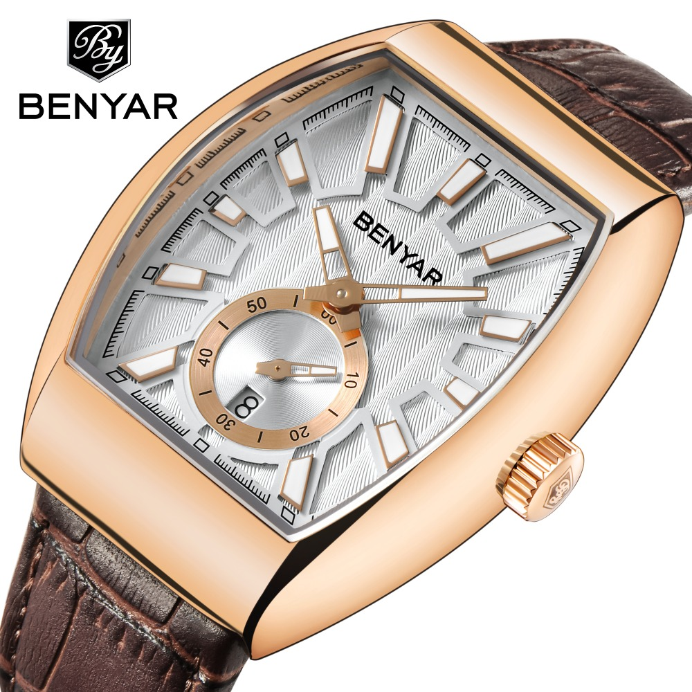 BENYAR Men's Fashion Sport Quartz Gold Watch Luxury Top Brand Date Leather Waterproof 30M Male Clock Golden Bayan Kol Saati Hour 36v 24v 48v step down to 12v 10a 120w dc dc waterproof buck power supply module voltage regulator car power supply converter