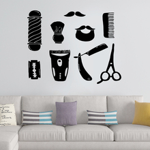 Creative Barber shop Vinyl Wallpaper Roll Furniture Decorative Sticker For Shop Rooms Decal Mural Stickers