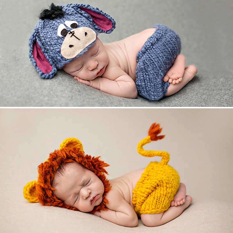 Knitting Soft Hat Pants Set Baby Clothing Accessories Cute Animal Bebe Newborn Photography Props Lionet/Chick/Tiger 0-4 Months