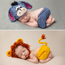 Knitting Soft Hat Pants Set Baby Clothing Accessories Cute Animal Bebe Newborn Photography Props Lionet/Chick/Tiger 0-4 Months set of fashion color matching knitting props clothes hat for baby s photography