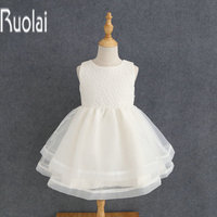 Real Sample Ivory Lace Tulle A Line Sleeves Knee Length Flower Girl Dresses Custom Made For