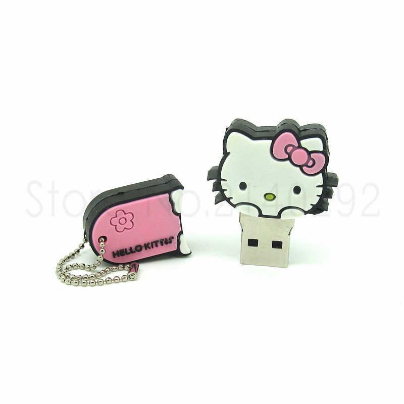 Novo estilo hello kitty caneta drive vermelho/rosa/azul gato usb flash drive dispositivo de armazenamento 4g/8g/16g/32g menina presente