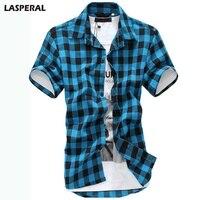 LASPERAL Повседневное Лето Для мужчин рубашки футболка с коротким рукавом Рубашки в клетку модные короткий рукав Chemise Homme Для мужчин s рубашки плюс Размеры