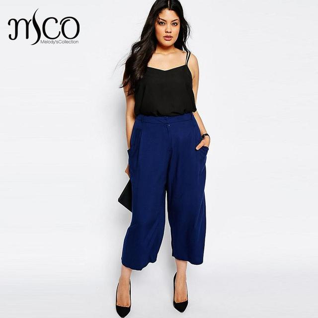 1d853d11a43 Brand Fashion High Waist Cropped Palazzo Elegant Culotte Office Suit Pants  Plus Size Luxe Wide Leg Trousers Women Pant 6xl 7xl