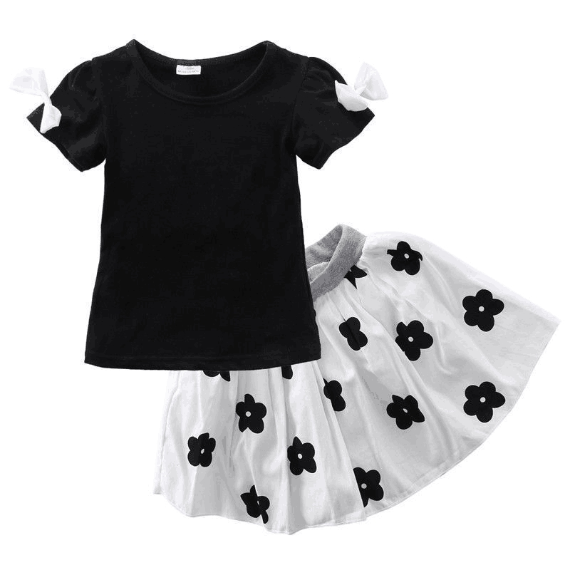Girs Clothes Set Black Top+Flower Skirt Children's suits girl clothing pattern cute children's Summer Toddler 1-6Y