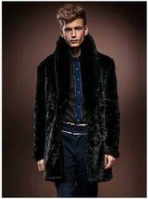 2016 New Famous Brand Men'S Casual Long Large Size Black Mink Fur Jacket  Rabbit Fur Collar Casual Coat Overcoats S/3Xl J276