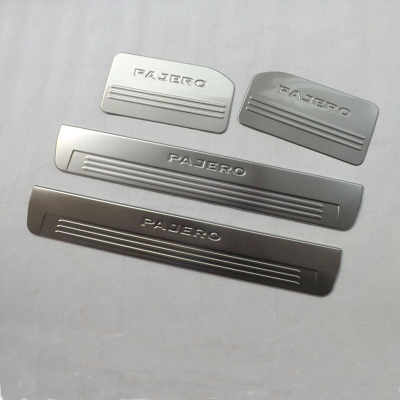 for Mitsubishi Pajero 2013 Stainless Steel Internal  Door Sill Strip Welcome Pedal Auto Car Styling Stickers Accessories 4 Pcs high quality byd g6 welcome pedal stainless steel door sill stickers g6 led threshold stickers free shipping 4pcs set