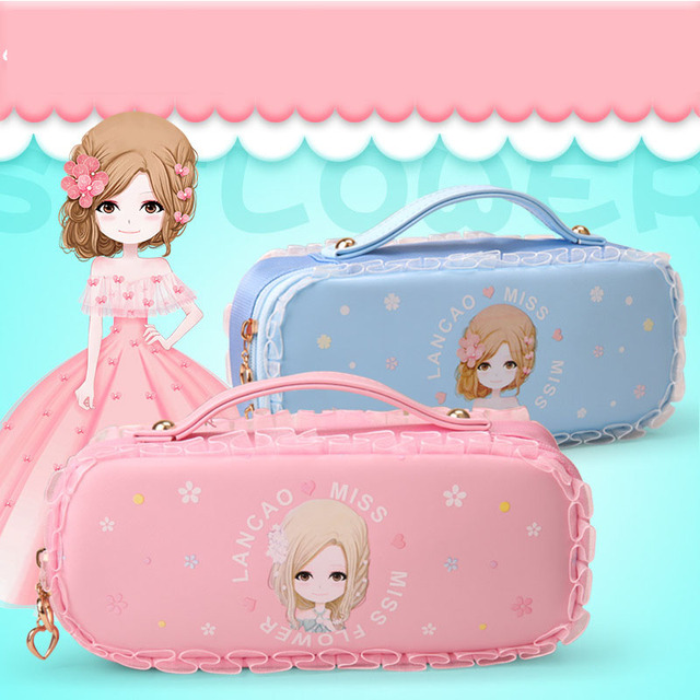 edaaf0771a Kawaii Pu Leather flower girls pencil case for kids Cute large capacity pen  bag Stationery pouch office school supplies material