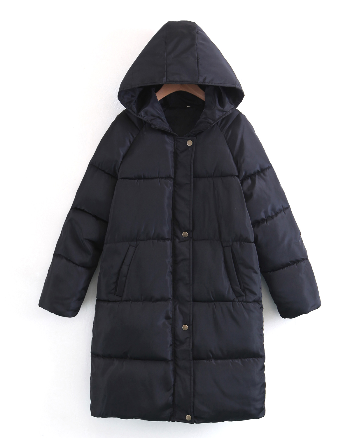 Manches Manteaux À Longues Zipper Matelassée Long gray Kenancy Fit Black Loose Capuche wCgw68q