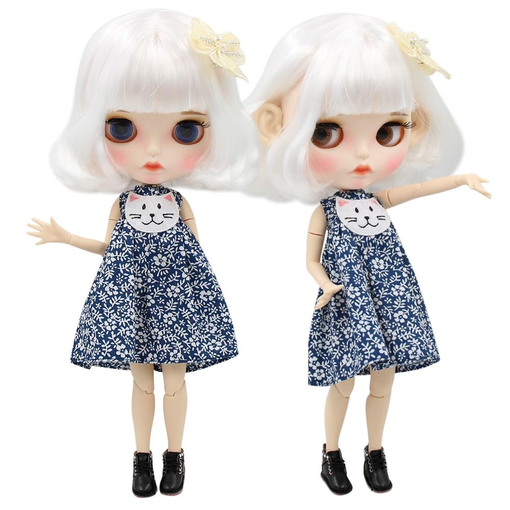 ICY factory blyth doll 1 6 bjd white skin joint body short white hair new matte