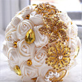 Gorgeous Wedding Flowers Bridal Bouquets Gold Ivory Artificial Wedding Bouquet Crystal Sparkle 2016 New buque de noiva