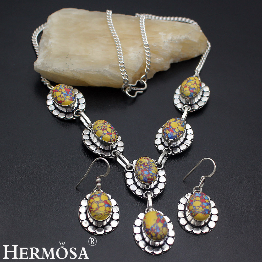 Exotic fashion jewelry - Exotic Colorful Mosaicjasper Vintage Daisy Style 925 Sterling Silver Necklace Earrings Jewelry Set Ny24 Hermosa