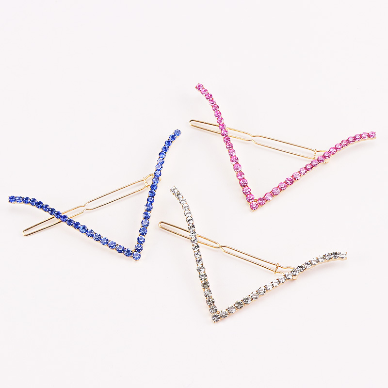 1PC New Fashion Hair Accessories For Women Elegance Geometric Hairpins Crystal Alloy Barrettes Girls Shining Hair Clips Hairgrip new 2pcs lot 1 pair girls women lovely cute golden alloy hair barrettes hairpins hair accessories