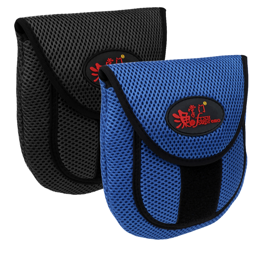 Image 2 - Mesh Cloth Fly Fishing Reel Storage Bag Protective Cover Case Pouch Reel Holder Protector Black/Blue 19.5 x 18 x 2cm-in Fishing Bags from Sports & Entertainment