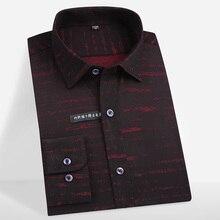 Mens Bamboo Fiber Stretch Easy Care Print Shirt Comfortable Soft Regular fit Long Sleeve Elastic Formal Non Iron Dress Shirts