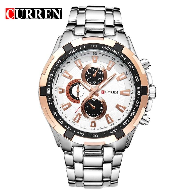 Stainless Steel Men Waterproof Wristwatches Boys Watches Analog Quartz Sport Watch 8023