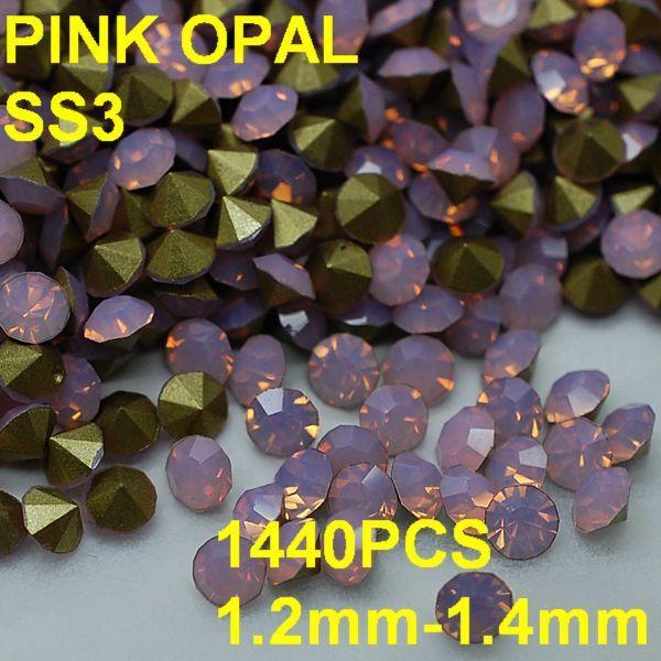 SS3 1440 unids/lote 1.2mm-1.4mm de Cristal de Color Rosa Opal Rhinestone Forme a Mujeres La Joyería Del Arte Del Clavo 3D de Los Rhinestones de Oro Pointback