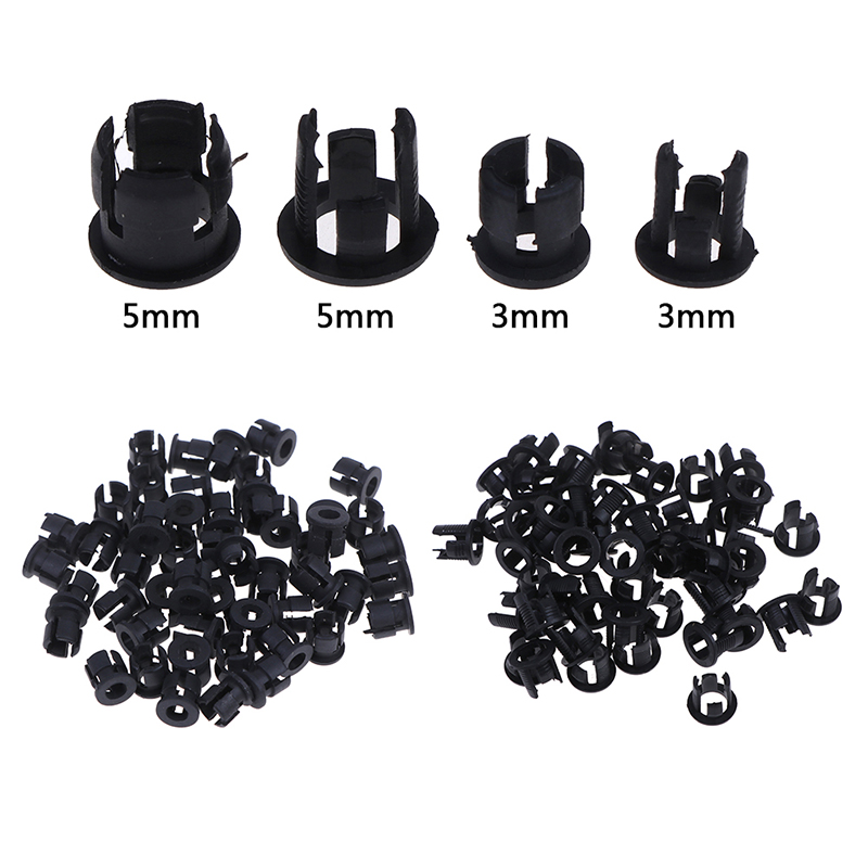 50pcs/lot Useful Black Plastic 3mm 5mm Lamp LED Diode Holder Black Clip Bezel Socket Mount