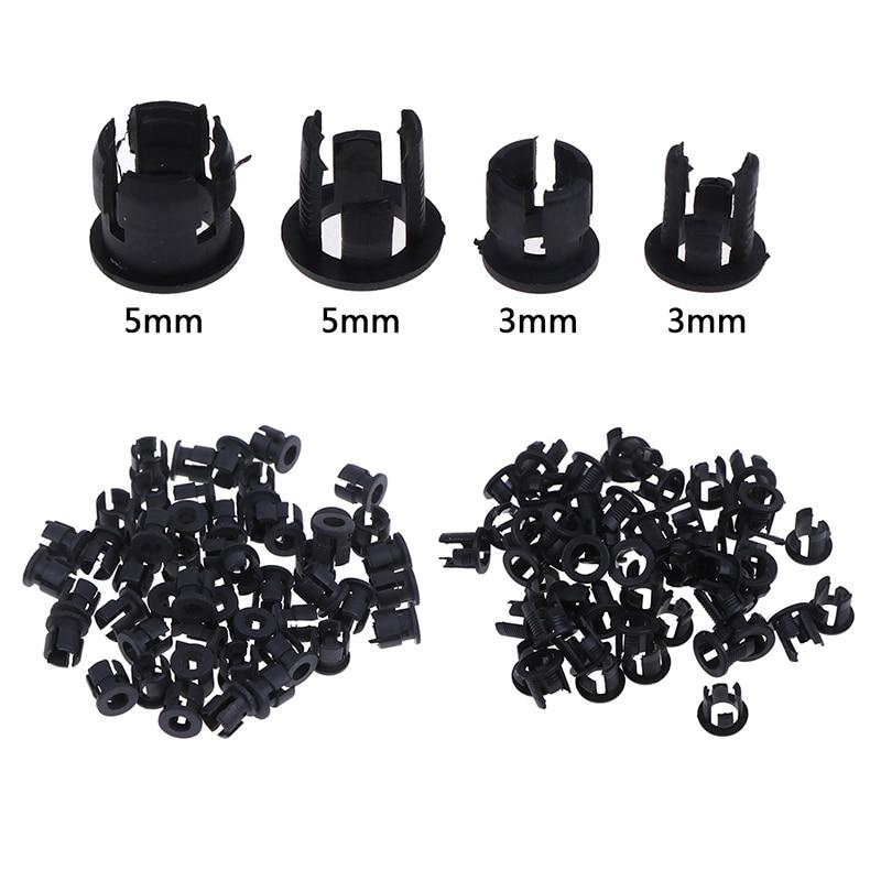 50pcs/lot Useful Black Plastic 3mm 5mm Lamp LED Diode Holder Black Clip Bezel Socket Mount
