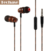 Techase Wired Headphones Wooden Design Headset With Microphone Fone De Ouvido For Xiaomi Mi Mix Sport