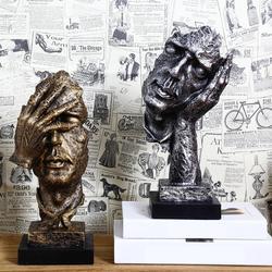 Resina abstrata escultura estatueta ornamentos silêncio é ouro escritório decoração para casa acessórios arte moderna resina decoração artesanato