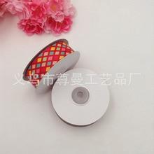 New Ribbon Webbing DIY 2.5cm Ddigital Printing Clothing Headwear Accessories Color Square Diamond Pattern Series material