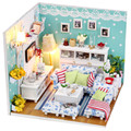 DIY Wooden Handmade Dolls house Miniature DIY Doll house Kit -Cute Room & Furniture inside With Dust cover & Light