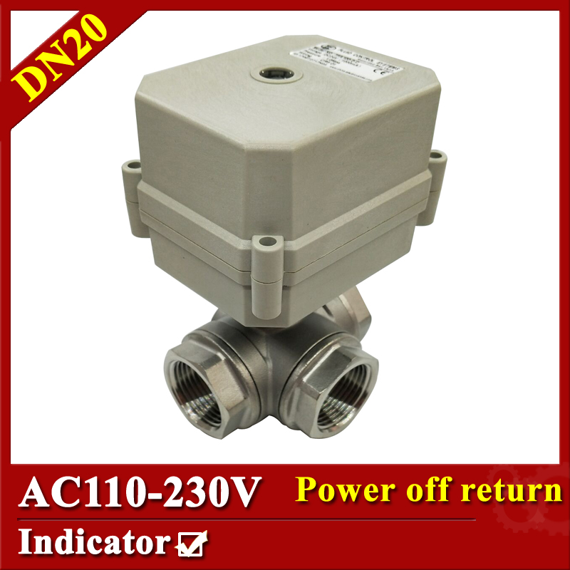 Tsai Fan Electric motorized valve 3/4 DN20 T port 3 way electric valve 2/5 wires AC110V to 230V BSP/NPT with signal feedback 1 2 ss304 electric ball valve 2 port 110v to 230v motorized valve 5 wires dn15 electric valve with position feedback
