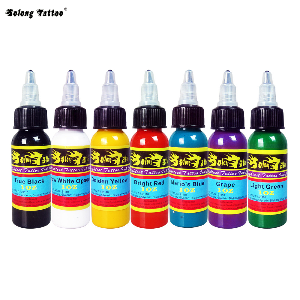 solong tattoo ink 7 colors set 1oz 30ml bottle tattoo