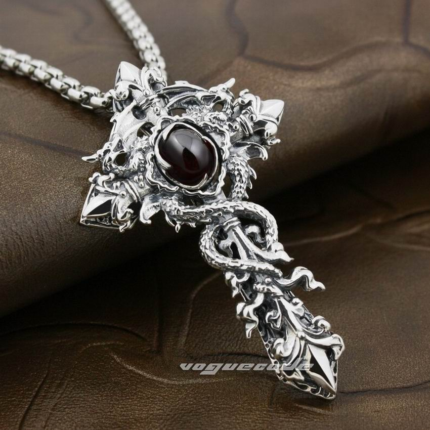 LINSION Black CZ 925 Sterling Silver Dragon Twine Cross Sword Mens Biker Rock Punk Pendant 8X002 цены онлайн