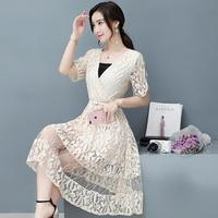 2017 Summer Dress Women New Lace Dress Female Korean Version Of Slim Was Thin V Collar