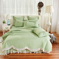 4Pcs Luxury Cotton Lace Throw Blanket Bedspread King/Queen size Pink/Green Princess Girls Bed skirt Bedsheet Pillowcase