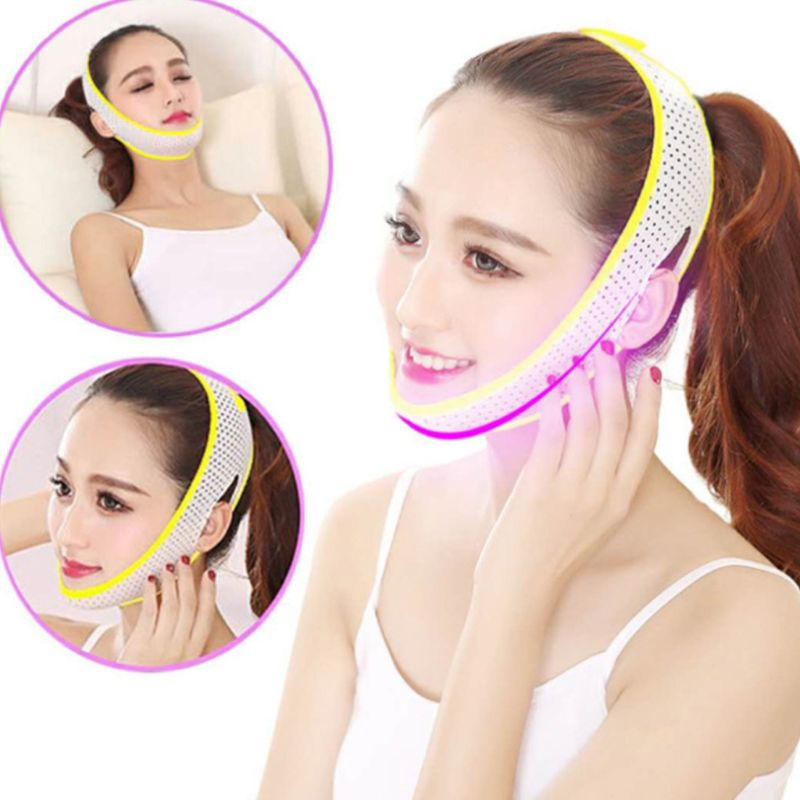 V Face Lift Up Slimming Mask Hollow Out Mesh Elastic Cheek Compression Double Chin Thin Belt Strap Bandage Facial Shaper Tool(China)