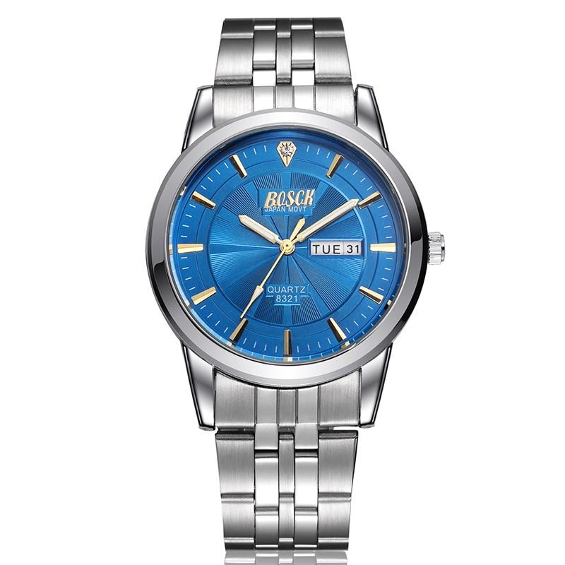 Bosck Fashion Casual Watches Men Luxury Brand Wristwatch Stainless Steel Male Quartz Waterproof Watch Men Business