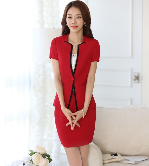 New Professional Business Suits With Jackets And Skirt Ladies Office Work Suits Uniform Style 2016 Summer Female Outfits Blazers