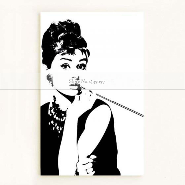 Black and White 100% Hand painted Audrey Hepburn Pop Art Wall Art ...