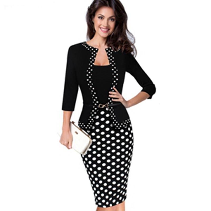 2018 Women Winter Elegant Retro Faux Jacket Polka Dot Contrast Belt Dress Suit Work Office Business Party Sheath Dress Suit