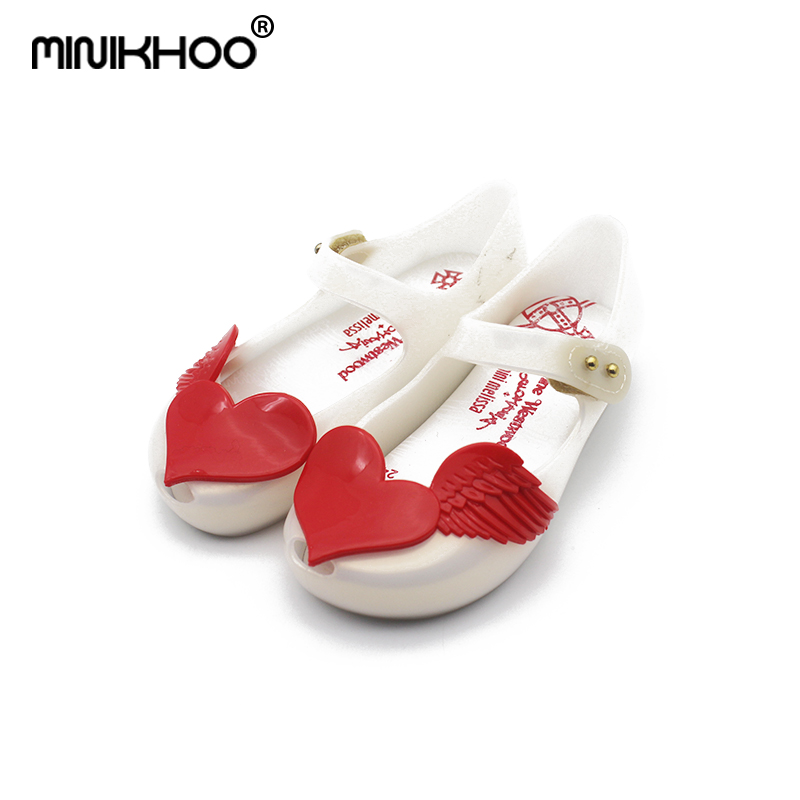 Mini Melissa Love Wings Shoes For Girls Jelly Sandals 2018 NEW Sandals Jelly Shoes Girls Beach Shoes Melissa Princess Shoes
