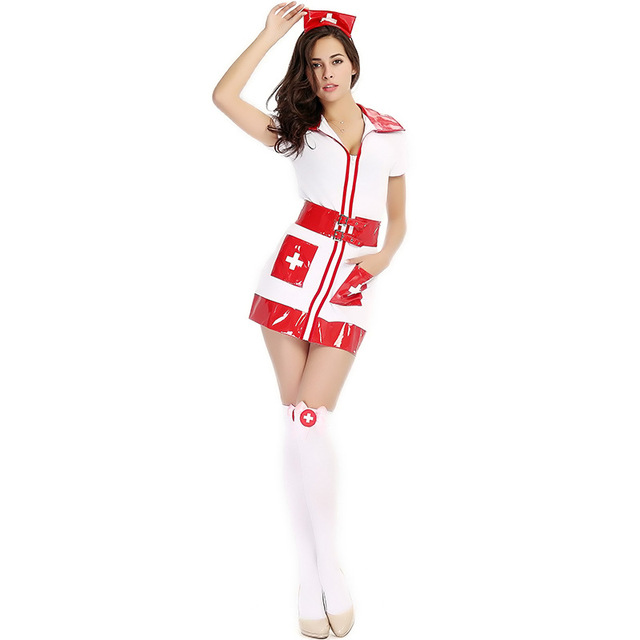 f3300cfb50b16 Adult Women Halloween White Erotic Nurse Costume PVC Vinyl Sexy Bodysuit  Outfit Short Fancy Bodycon Dress For Girls with belt