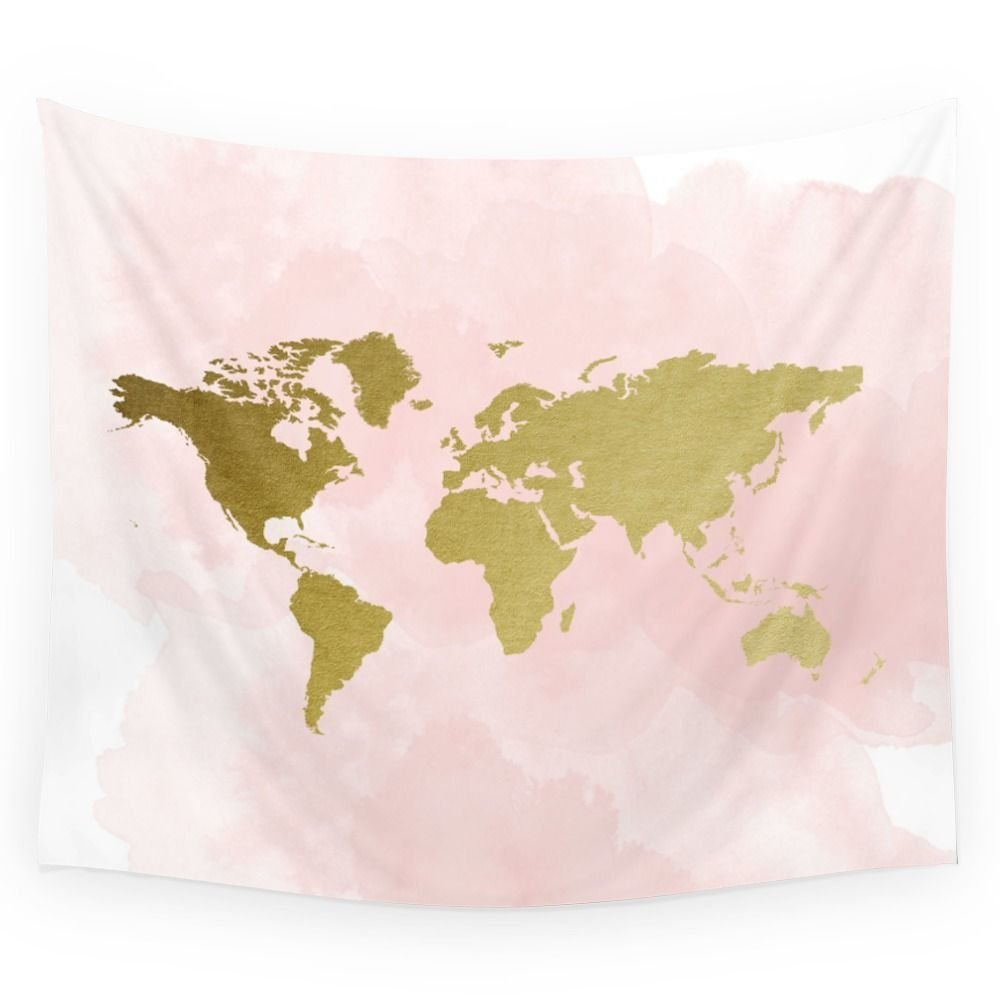 Gold World Map Poster Wall Tapestry Fabric Wall Hanging Tapestry ...
