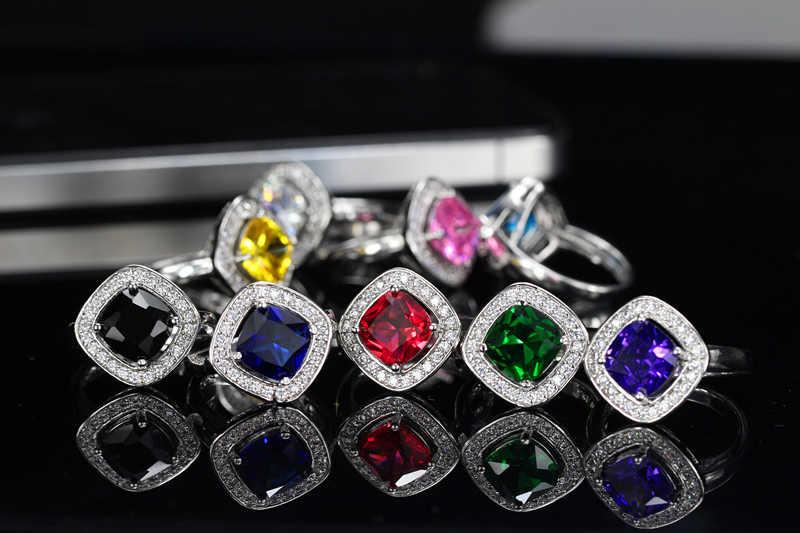 CWWZirconsออกแบบคลาสสิก0.8กะรัตแฟชั่นสแควร์AAA + CZหินสีขาวสีทองผู้หญิงหมั้นแหวนR083