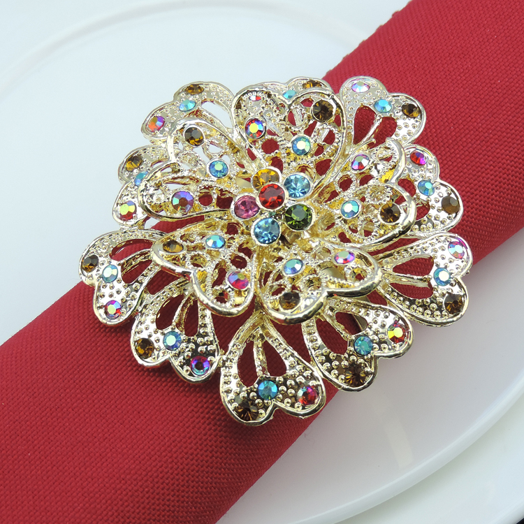50pcs Exquisite flowers diamond napkin ring metal napkin buckle home restaurant table decorations wedding decoration essential